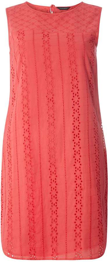 CORAL BRODERIE SHIFT DRESS
