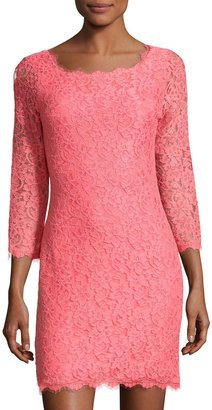 DIANE VON FURSTENBERG ZARITA LACE SHEATH DRESS, CORAL