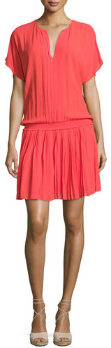 JOIE BRYTON SMOCKED-WAIST BLOUSON DRESS, CORAL