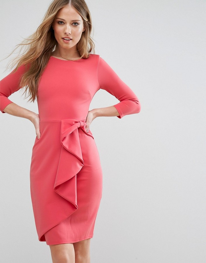 CITY GODDESS 3/4 SLEEVE WATERFALL PEPLUM MIDI DRESS
