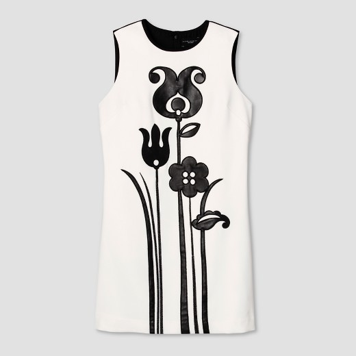 Women's Black and White Mod Shift Tulip Appliqué Dress - Victoria Beckham for Target