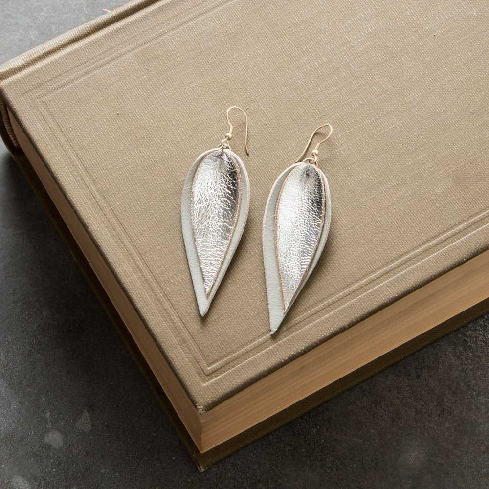 DOUBLE METALLIC LEATHER LEAF EARRINGS
