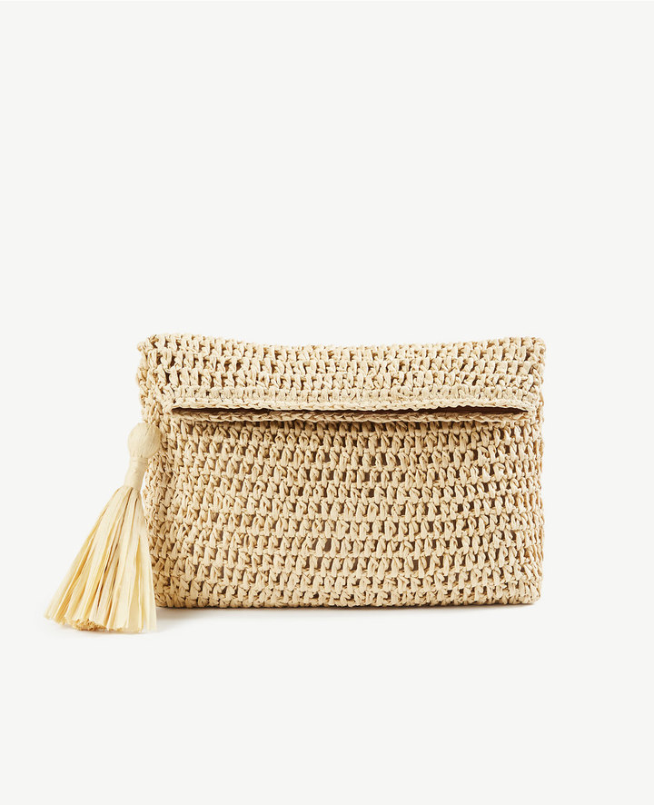 FOLDOVER STRAW CLUTCH