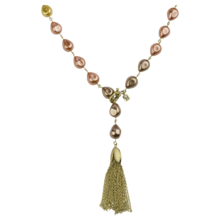 "31"" Gold Ombre Baroque Pearl Tassel Necklace"