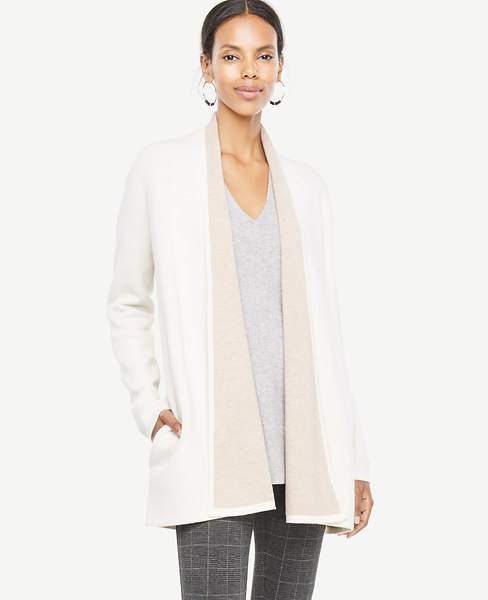 Ann Taylor Petite Wool Cashmere Shawl Collar Coatigan