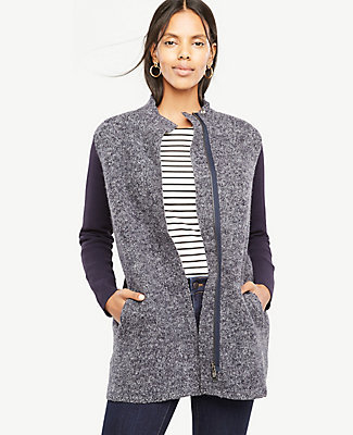 Ann Taylor Merino Wool Paneled Coatigan