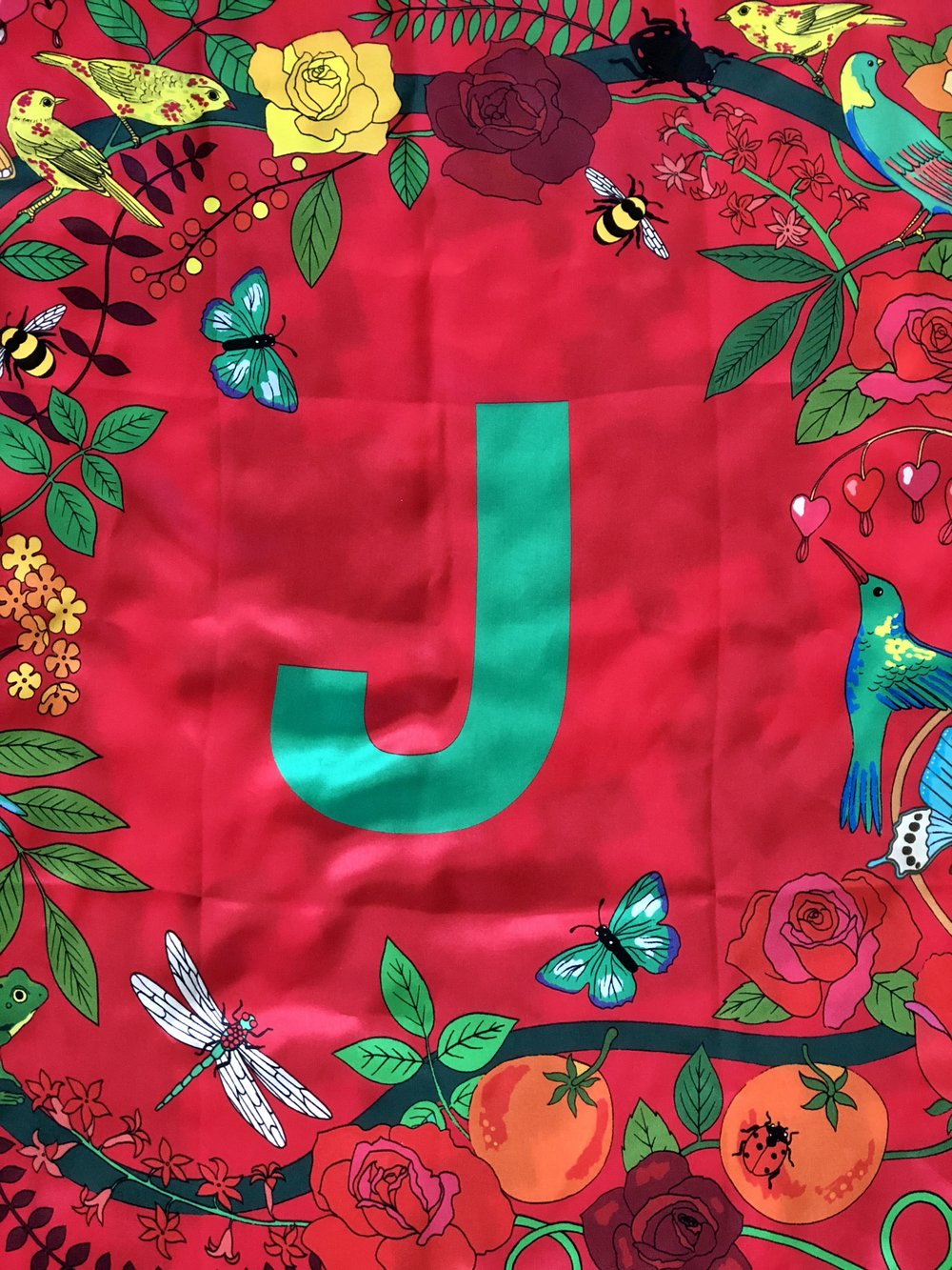 "A beautiful ""J"" scarf from a Sis!"