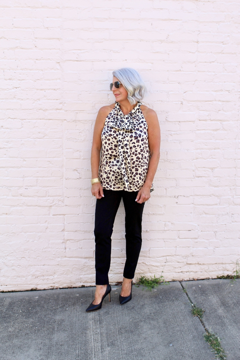 This leopard top if from Monkee's in Charlotte!