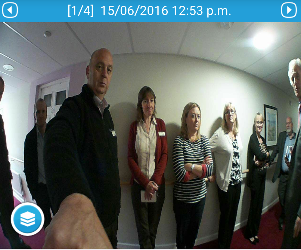 Would you let this lot in? The door camera sends both streaming images to 'Mary' while recording up to twenty stills for family and friends (with access) to review later.