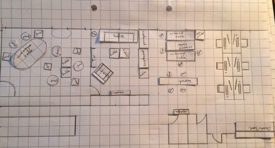 Redesigning the space using bits of squared paper