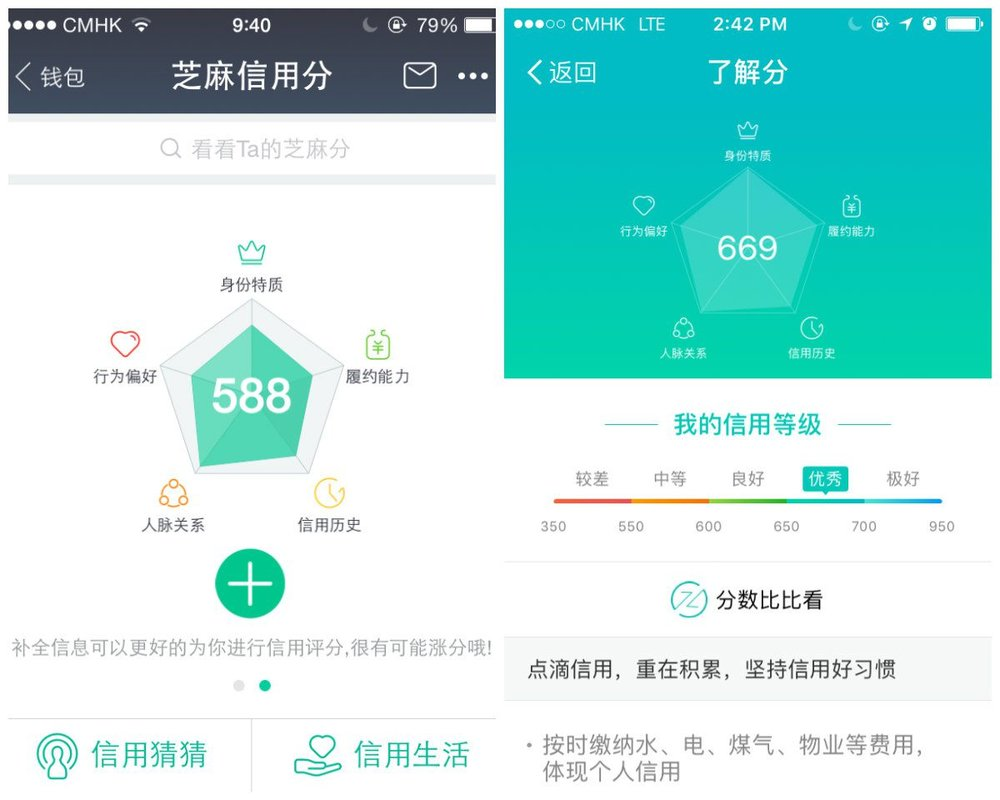 Alipay credit score screens. Image Source: qz.com