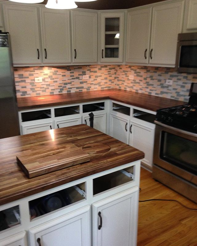 "1.5"" Black Walnut counters and island with ogee edges and Durakryl 102 finish (clear satin polyurethane). Installation and miter done by Mike Corsi Remodeling."