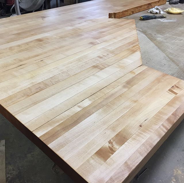 Extreme glue up and refinishing of 30 year old Maple counters.  Scroll through for the before photos.