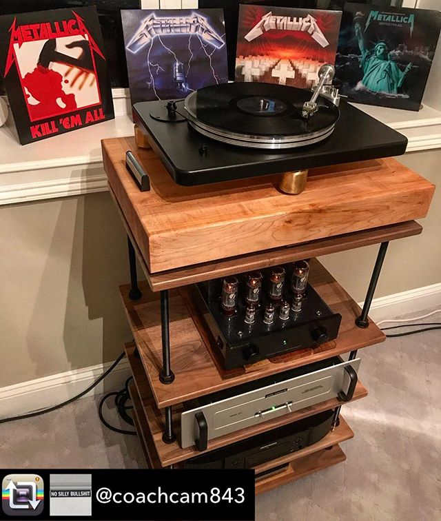 "Outside of the kitchen, our butcher blocks also see their home underneath high end speakers, turntables and amplifiers as a means to decouple vibrations.  Here's our 3"" thick Maple at work making these classics sound their best. Repost from @coachcam843 Beginner metal. #metallica @vpiindustries  #music #nowspinning #digital #analog #audiophile #hifi #stereo #primaluna #focal #vinyl #audio #highend #instahifi #klipsch #denon #emotiva #salamanderdesigns #marantz #vpi #vpicliffwood #audioresearch"