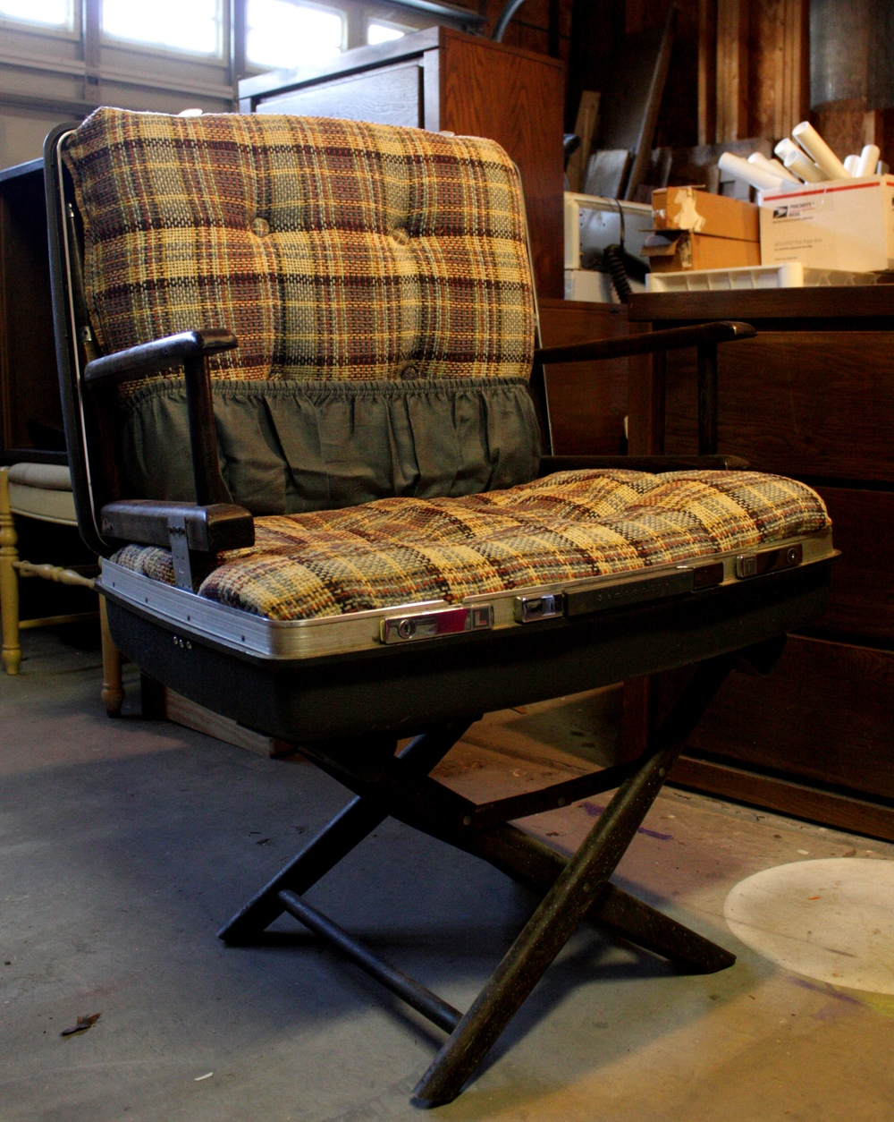 Up-cycled chair, directors chair with suit case