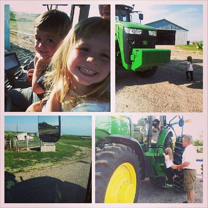 cousin Logan showing us the big tractor