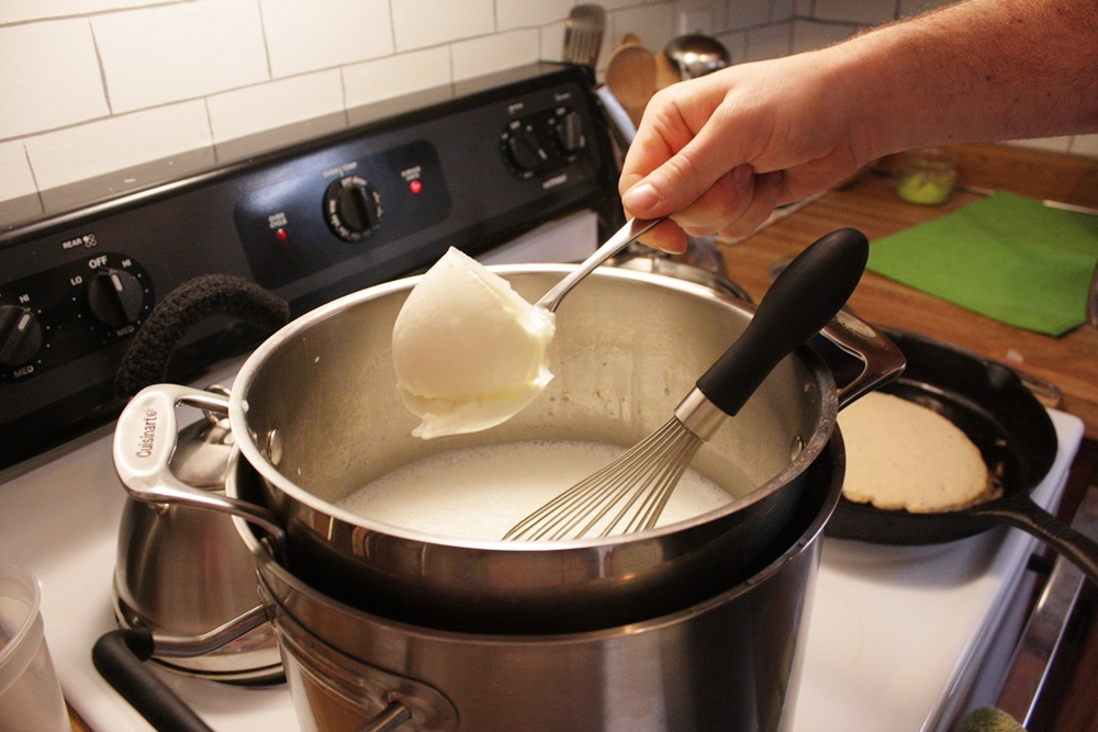 Once your milk is ready just add two large scoops of pre-existing plain yogurt and whisk! That's right you make yogurt with yogurt! After you have whisked the yogurt all you do is cover the pot and find a safe place for the cultures to activate.