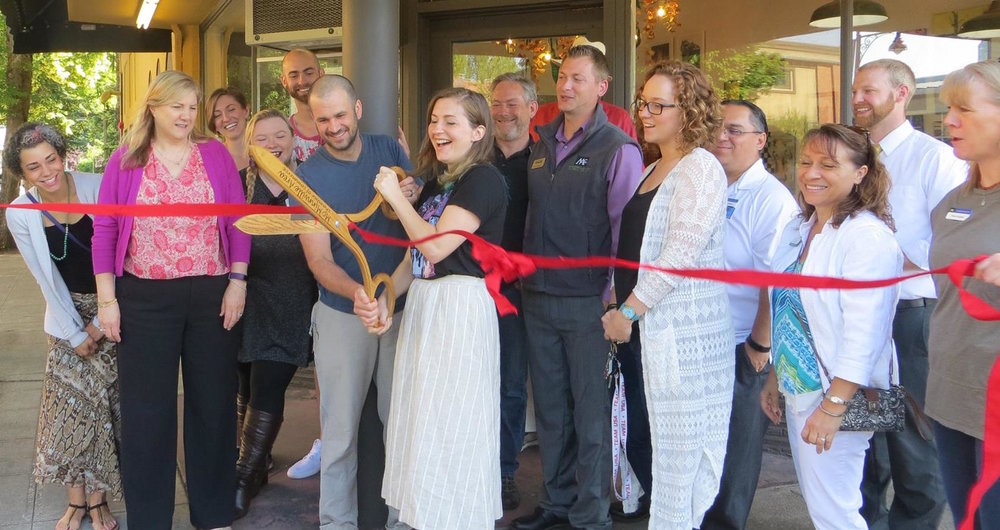 This is when I opened my brick and mortar shop called The Blue Quail! The McMinnville Chamber of Commerce supplied the ribbon, scissors and happy people.
