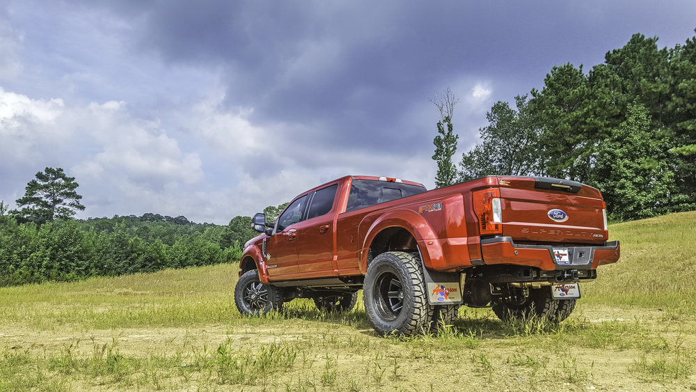 Ford F-350 Dually Black Widow Rear Quarter - Ruby Red