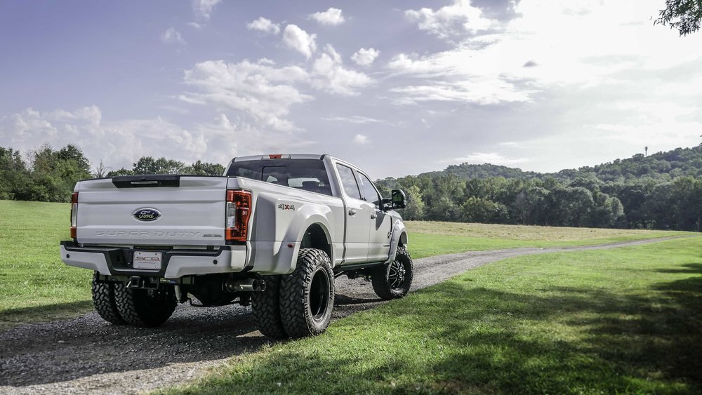 Ford F350 Dually Black Widow White Rear.jpg