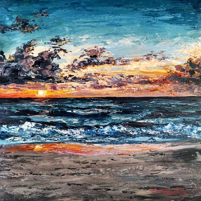 """Sunrise Sky"" 30x30 - Permanent Collection"