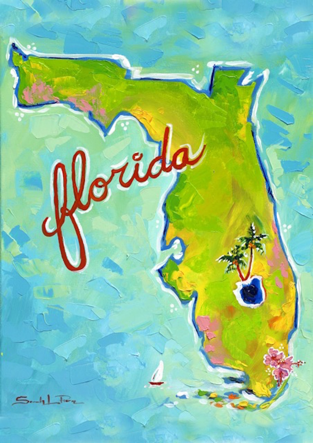 """FL Map"" 16x20 SOLD"