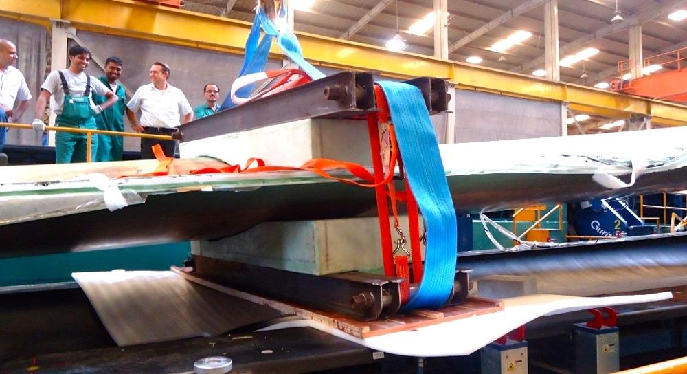 Productie van de windmolens bij Suzlon in India