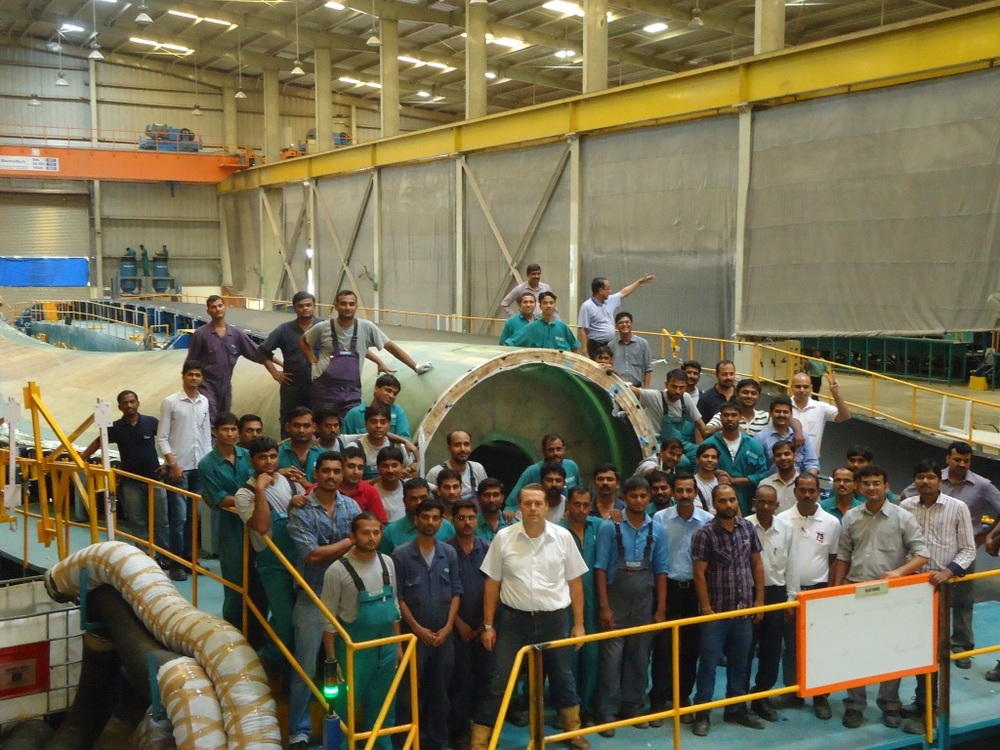 Gosse Wielinga in de Suzlon fabriek in India (foto: Suzlon)