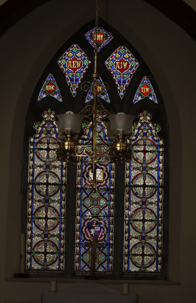 The front stained glass window in the Kilpeacon Church. This photo and the one above courtesy of Reece Gavin.