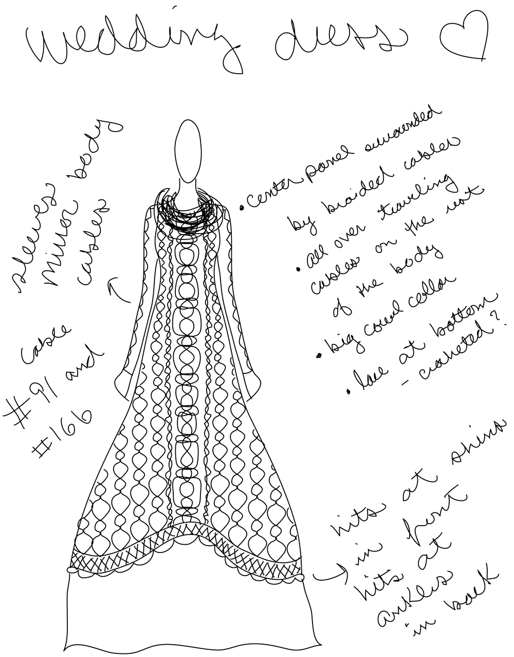 Sketching the dress.