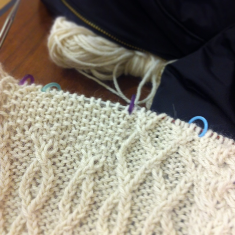 The transition from double chains to seed stitch on the bodice.