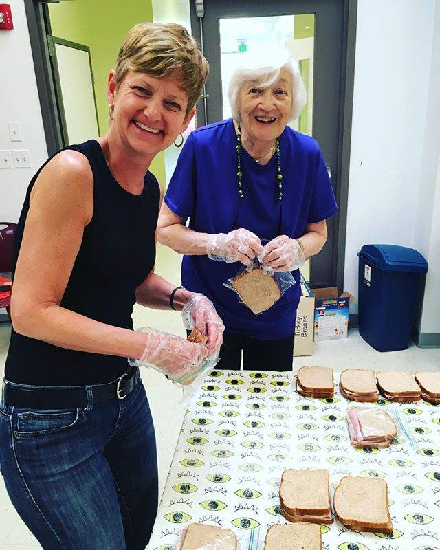 "It was a ""Bring your family to work and make them make 400+ sandwiches"" kind of day today."