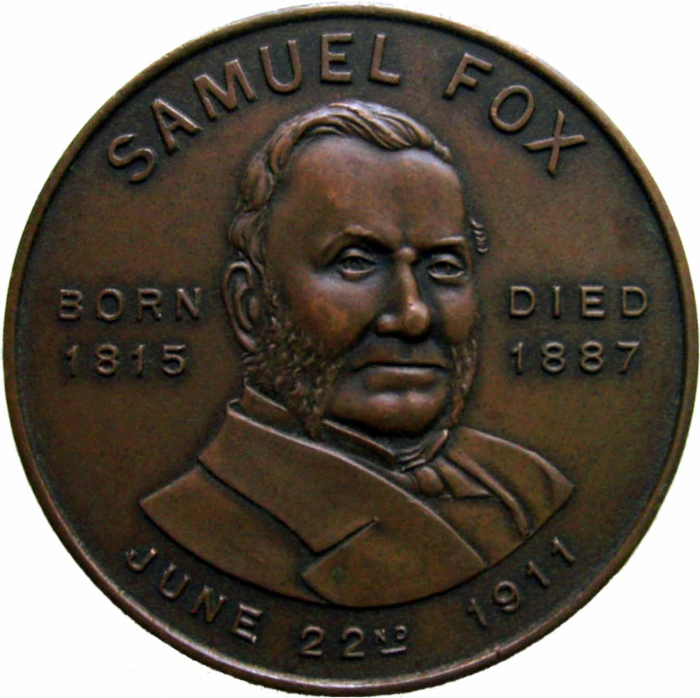 """Samuel Fox (1815 – 25) British industrialist, the founder of a steelworks in Stocksbridge."""