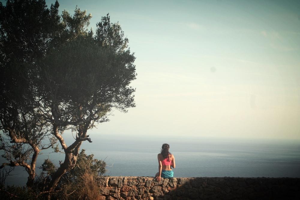 Livet från en bergstopp på Mallorca.