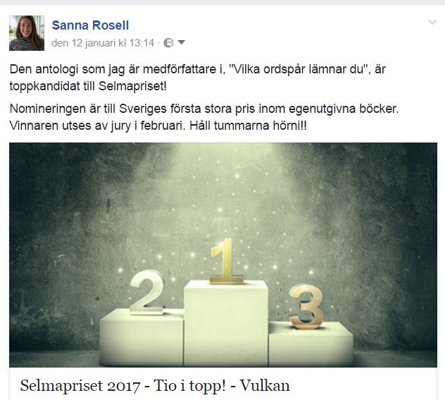Toppnominering till Selmapriset 2017.
