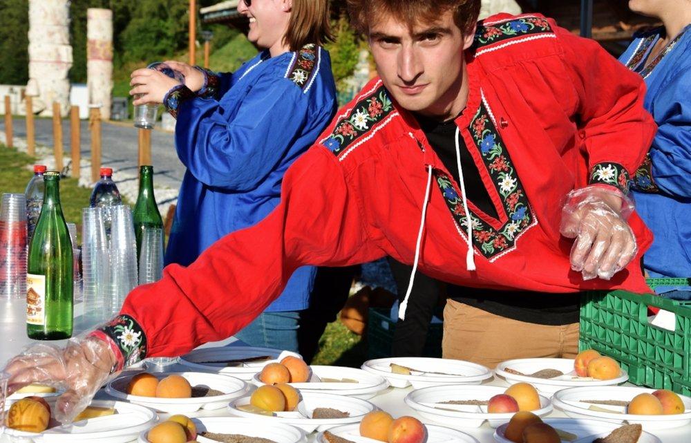 Schweizisk plocktallrik - aprikoser, ost och rågbröd