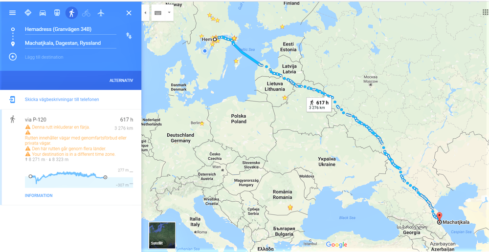Snabbaste rutten till fots till Kaspiska Havet.