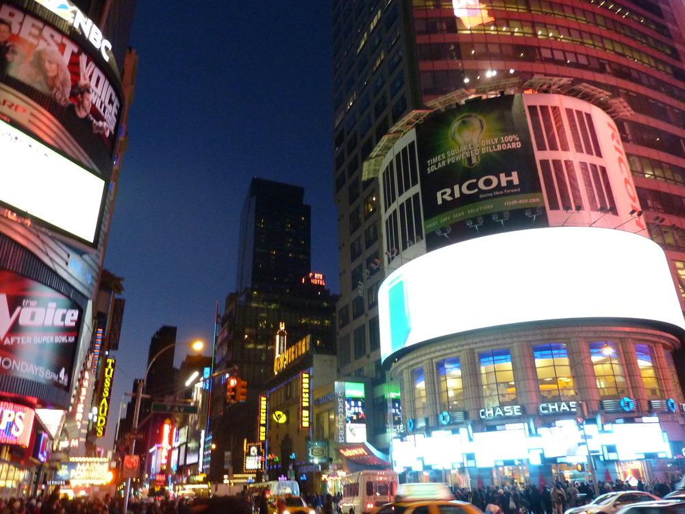 Times Square i nattklädnad.