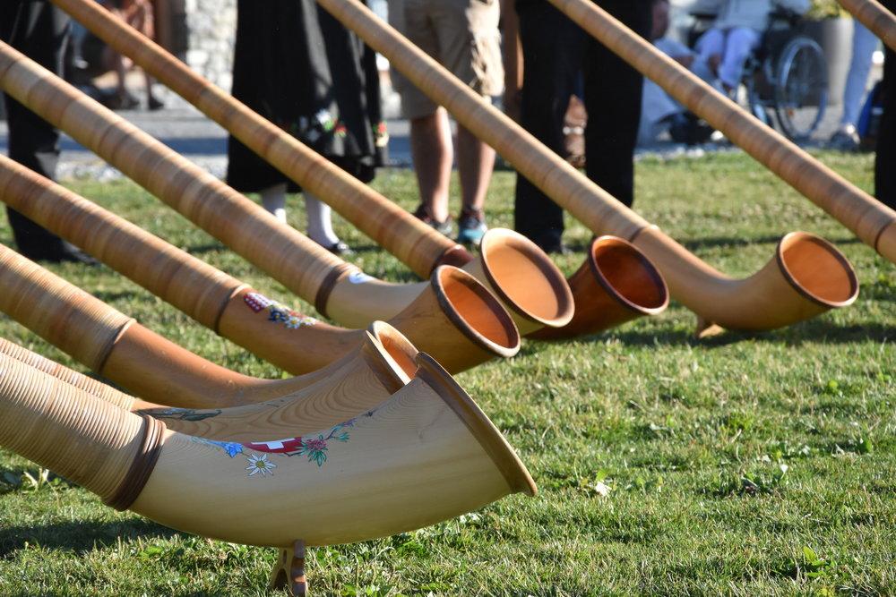 Alphornsorkester välkomnade oss i Valais.
