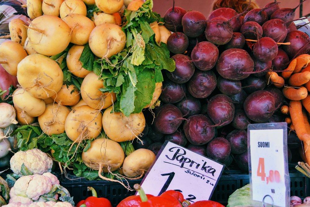 Matmarknad i Hagnäs.