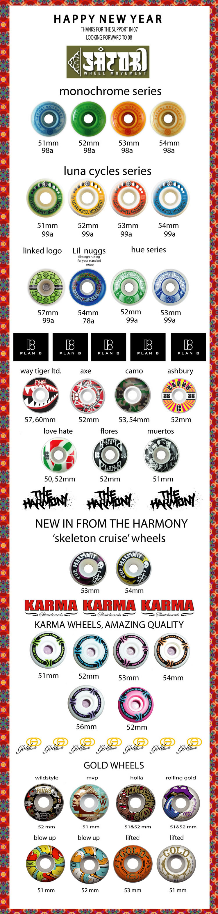 New Wheels in from Satori, Plan B, Gold, Harmony & Karma