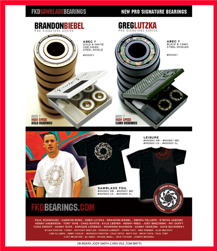 New FKD Pro Bearings, Brandon Biebel & Greg Lutzka