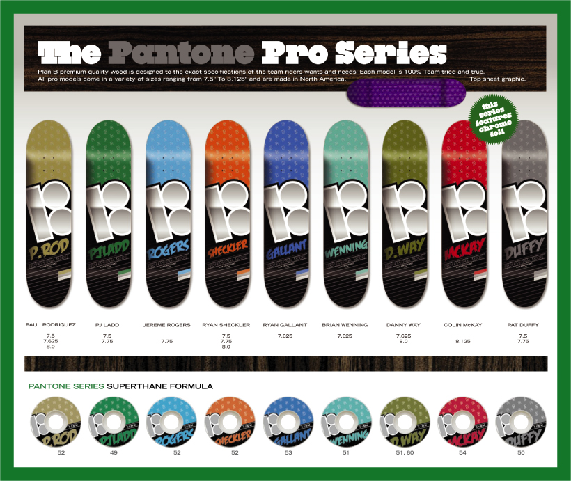Plan B Skateboards, New Pantone Decks & Wheels