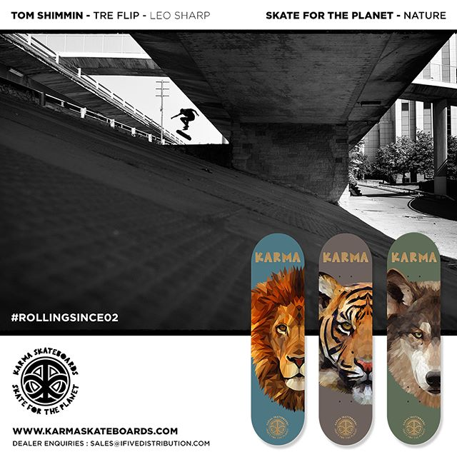 New @karmaskateboards Skate for the Planet series available to order now 🦁🐯🐺 #karmaskateboards #ukskateboarding #skateboarding #skateboard