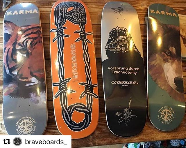 @braveboards_ with a drop of new @karmaskateboards and @insane_emporium decks 👌  #ukskateboarding #skateboard #supportyourlocalskateshop