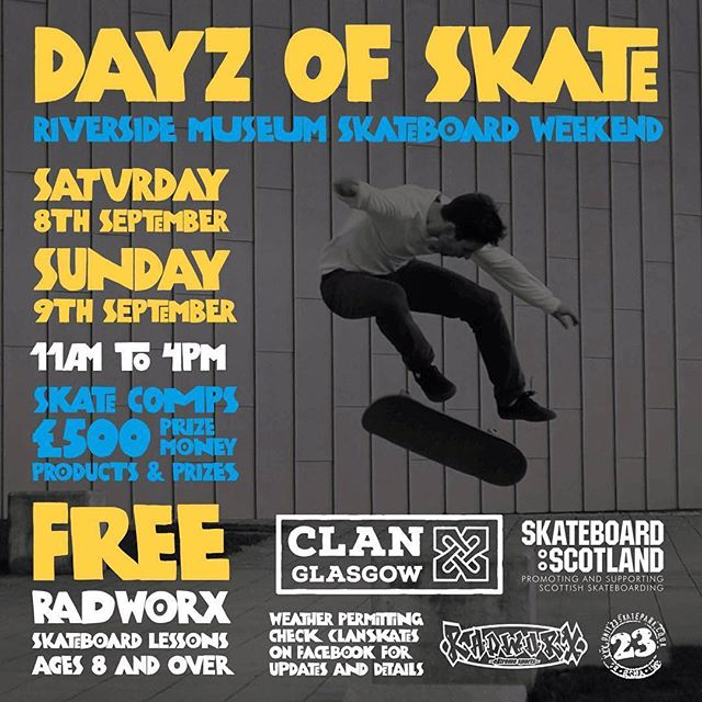 Next weekend 🗓  @clanskates @skateboardscotland  #ukskateboarding #scottishskateboarding #glasgow #skateboard