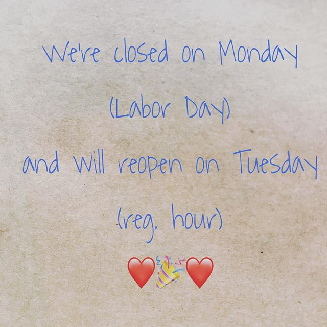 For customers who don't know we're closed on Monday ❤️ Happy (early) holiday everyone! 🎉 #daklaknj