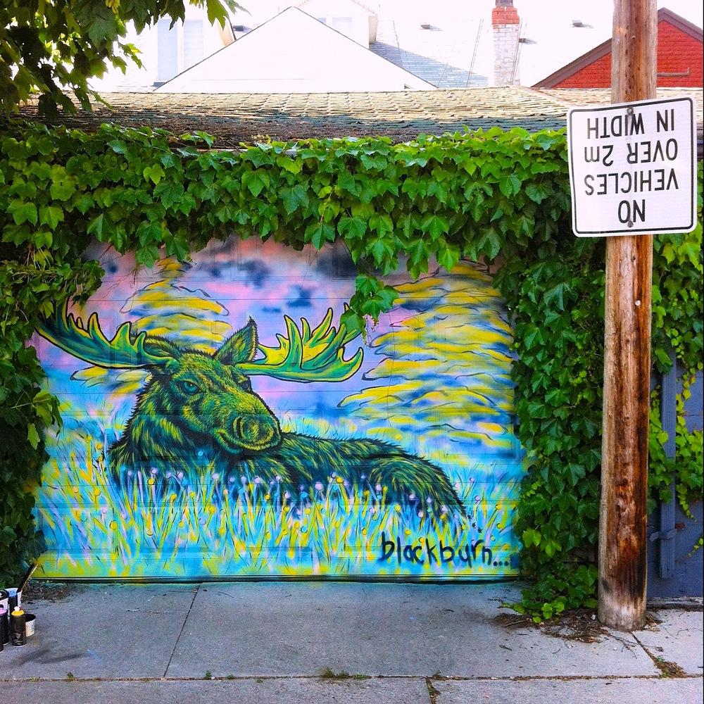 Moose Garage Door Mural by Blackburn