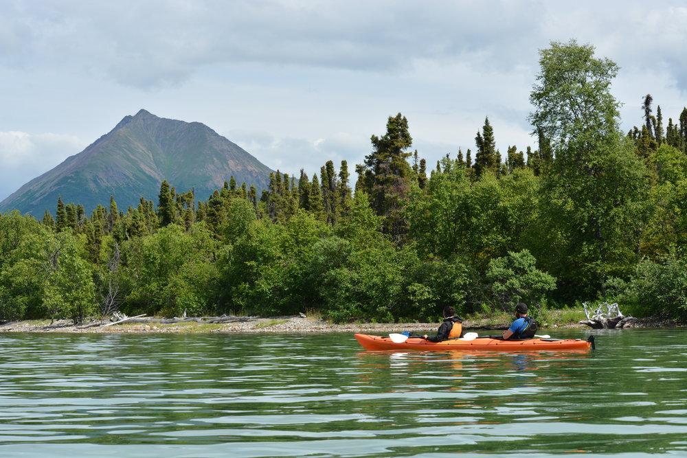 kayakers view tanalian mountain