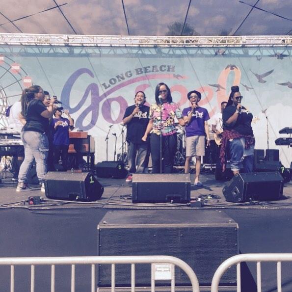 @antiochoflb's own Praise and worship team rocking the mic at the worship service at Gospel Fest! #lbgospel #antiochlb #summer2remember @myeshachaney @mskalisha @_themoshow @robjthrashiv @alexandria_threat